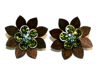 Wooden Flowers With Green & Blue gems.