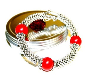 Antique Inspired Red & Sillver Bracelet