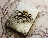 STEAMPUNK Metal Wallet Accessories Gift for Men Gift for Women Octopus Design Case Edwadian Accessories Unique Gift Idea FREE SHIPPING