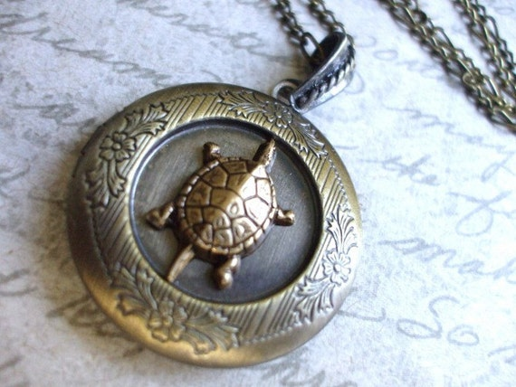 FREE SHIPPING Turtle Locket Steampunk Neo Victorian Womens Locket Necklace Vintage Inspired Unique Gift Idea by 300Moons