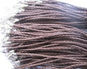 20pcs 18 inch Adjustable brown dermatine plait cord necklace cord with white K lobster clasp d008
