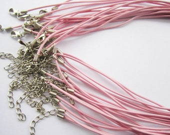 20pcs 18 inch Adjustable pink leather cord necklace cord with white K lobster clasp r003