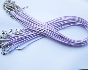 20pcs 18 inch Adjustable purple leather cord necklace cord with white K lobster clasp r015