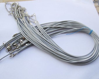 20pcs 18 inch Adjustable grey leather cord necklace cord with white K lobster clasp r016