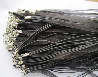 15pcs 18 inch black ribbon necklace cord chain lobster clasp A008