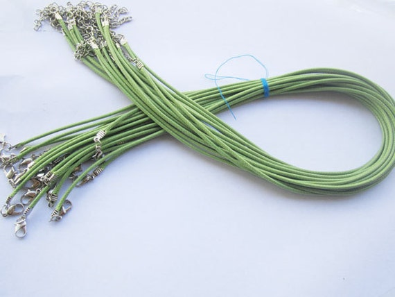 20pcs 18 inch Adjustable green leather cord necklace cord with white K lobster clasp r011