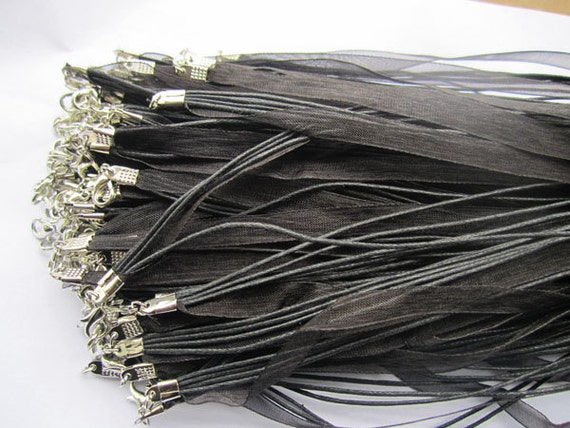40pcs 18 inch black ribbon necklace cord chain lobster clasp A008
