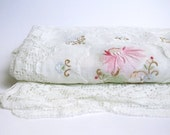 Vintage Lace and Floral Tablecloth in White and Pink