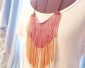 FREE SHIPPING leather fringe necklace in springtime rose