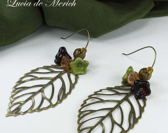 Long  leaf earrings - leaf earrings with Agate and glass flowers -Cyber monday-Black friday  SALE coupon code