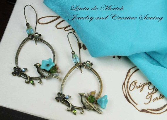 Mothers  Day Gift  - Turquoise bird on branch -earring - winter jewelry -coupon code - gift under 20 USD-Black friday - Cyber monday.