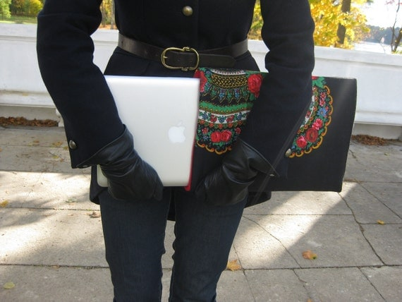 Custom made  neoprene padded protective Laptop Sleeve from Traditional Russian Pavlovo Posad Shawl - Choose the color