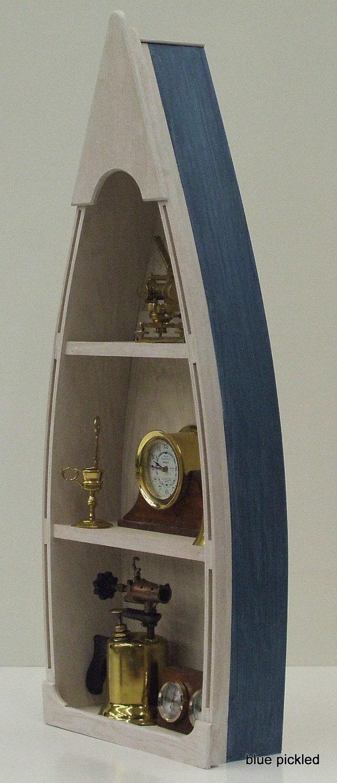 4 Blue Boat Bookcase Canoe Skiff Schooner Dory Shelf