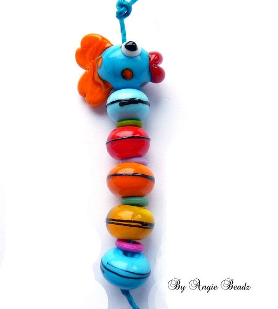 Fish n Beads ii - lampwork mini set glass beads (6) fish, spacers, focal,bright, whimsy, SRA - by Angie Beadz