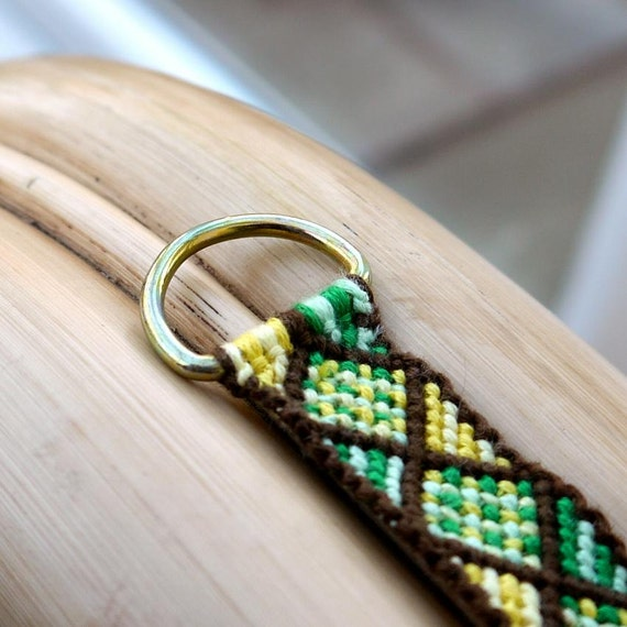 Green & Yellow Macrame Key Ring / KeyChain