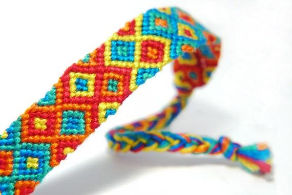 Rainbow Fashion Friendship Bracelet made with Cotton Macrame Knots