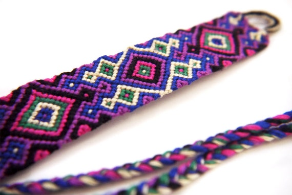 Wide Knotted Macrame Friendship Bracelet Cuff - Braided with High Quality Embroidery Thread / Floss