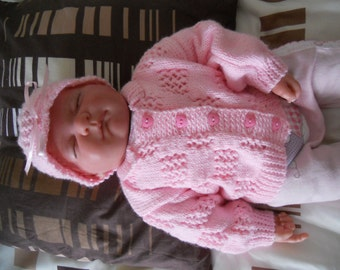 0-3mth Pink Baby First Cardigan and Matching Hat