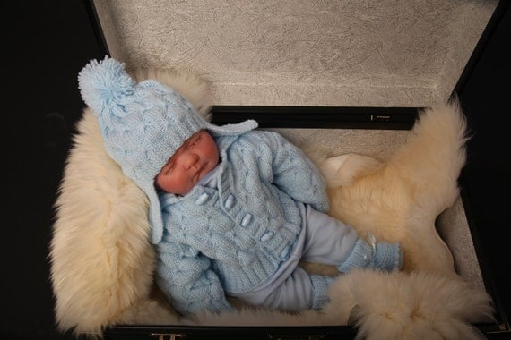 Baby Blue Cute Three Piece Jacket with Hat and Booties