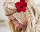 Adorable Red Felt Flower Pin