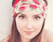 READY TO SHIP Today Rose Floral and Red Headband Reversible