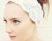 White and Wide Stretch Lace Headband - READY TO SHIP