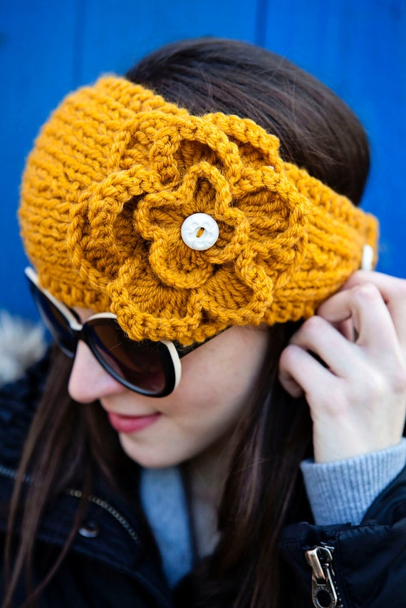 Mustard Knitted Headband with Gorgeous Crochet Flower accent - last one