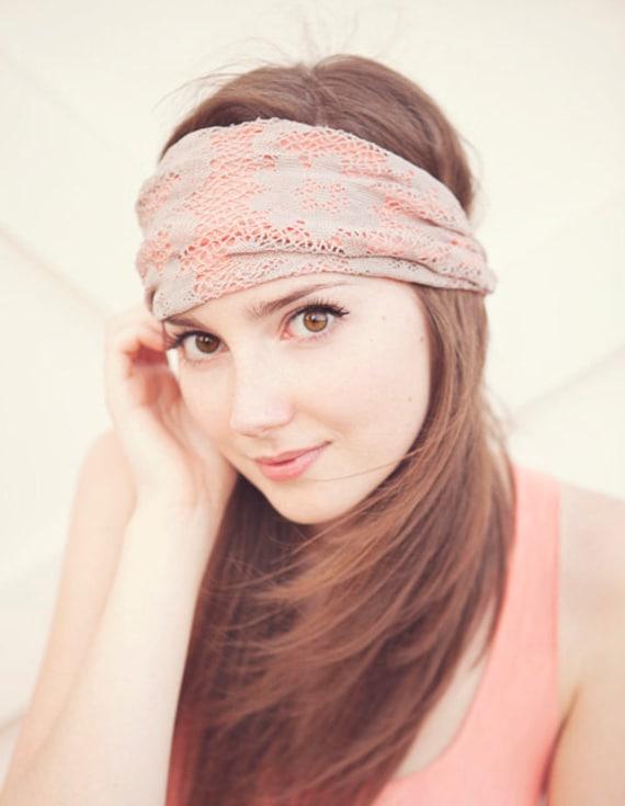 Peach and Ecru Lace Headband