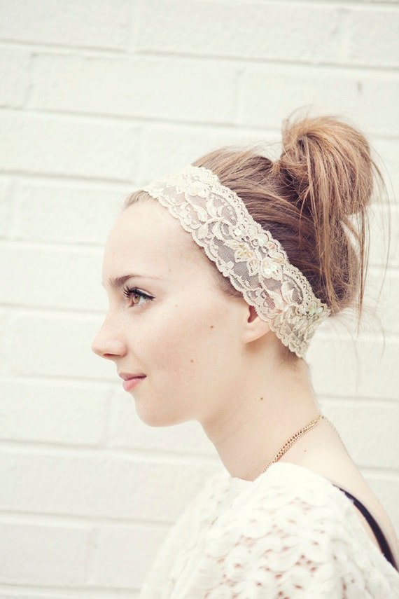 Ecru Stretch Lace Headband with sequins for that special event