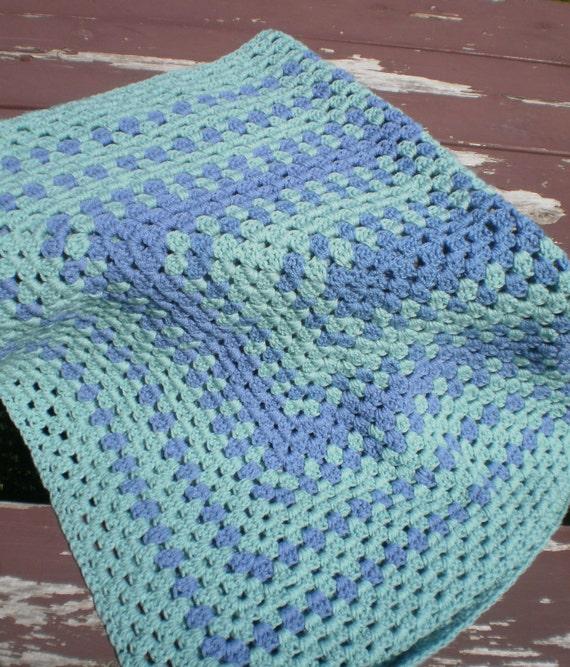 Crochet Afghan Rectangle  Granny Square Green and Slate Blue / Crochet Blanket