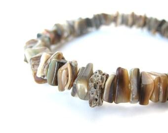 LAST ONE - Men's shell bracelet - beaded bracelet for men - Cliff Diver