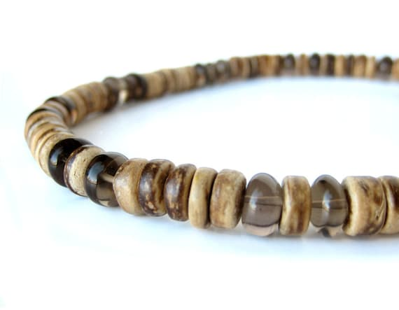 Mens jewelry - men's necklace made from smoky quartz and coconut shell - Gunsmoke