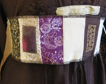 Pocket Belt Patchwork Belt Obi Gypsy Tie Sash Womens Belt Brown Beige Purple Hippie Belt Pocket Belt Festival Wear