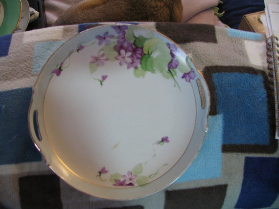 Nippon hand painted violets plate