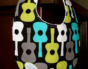 Baby Bib or drooler bib- Michael Miller Guitar fabric, minky or chenille backing