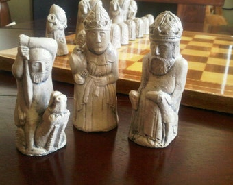 Dragon Hunt - Medieval Isle of Lewis style Chess Set with optional Vinyl Chess Board