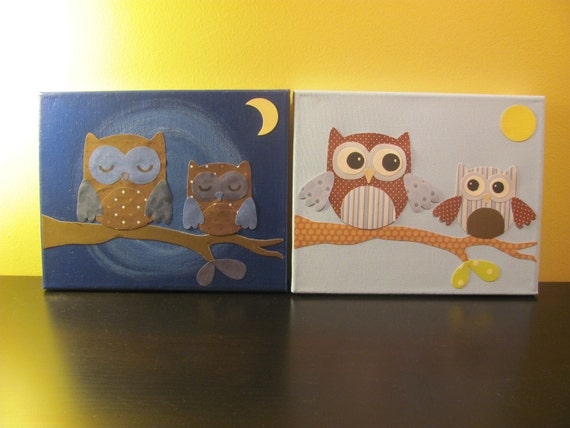 Unique Wall Decor For Nursery : Nursery wall art decor night and day owls