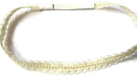 Sale / Ivory Lace and Pearl Headband