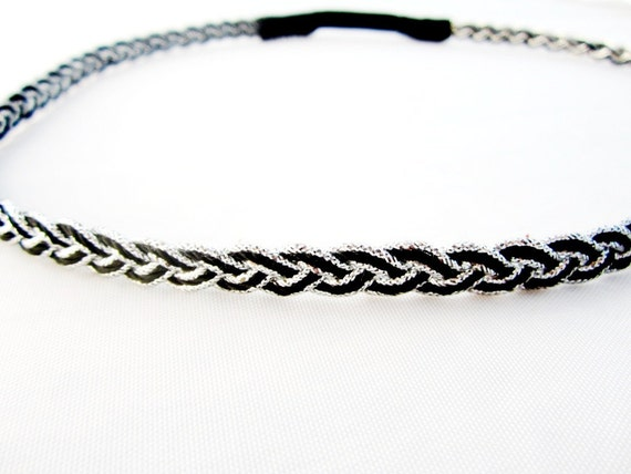 Black and silver braid headband