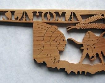 Oklahoma State Shape Wood Cutout Sign Wall Art Detailed Design Decor