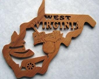 West Virginia State Shape Wood Cutout Sign Wall Art Detailed Design Decor