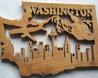 Washington State Shape Wood Cutout Sign Wall Art Detailed Design Decor