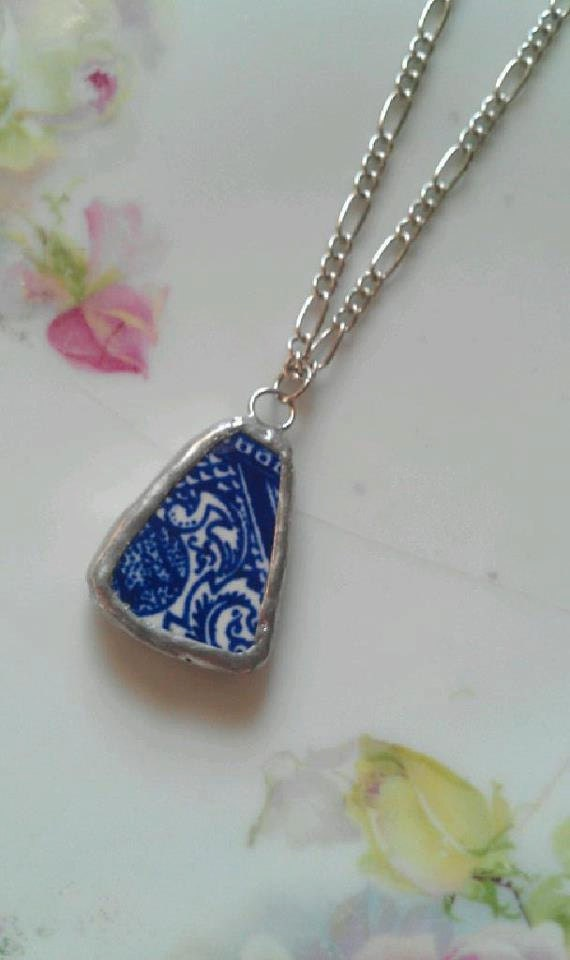 Blue Willow Broken China Necklace