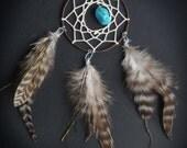 Three Feather Car Dash Rear View Mirror Dream Catcher (Brown)
