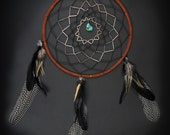 Large Dream Catcher With Black and Green Stripes, Long Feathers, and Turquoise, Boho Home Decor, Boho Dreamcatcher, Boho Nursery
