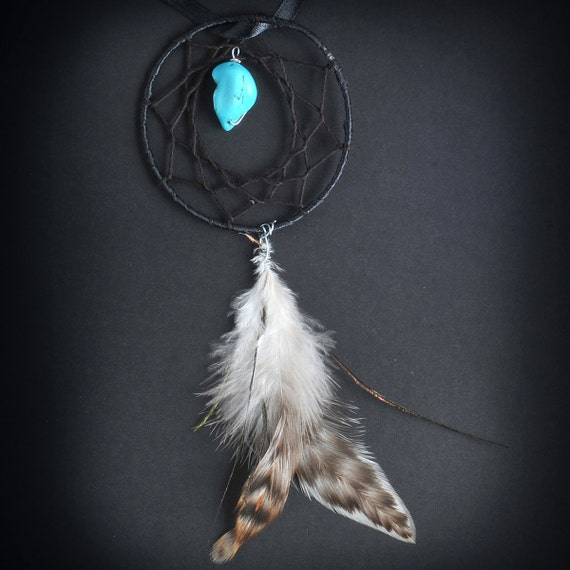Single Feather Car Dash Dream Catcher (Black), Small Black Dreamcatcher, Black Dream Catcher, Black and Turquoise, Stocking Stuffer!