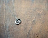 Double Ring Silver Seed Necklace