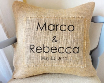 Personalized Modern Burlap Pillow Cover-  Great Wedding or Anniversary Gift!