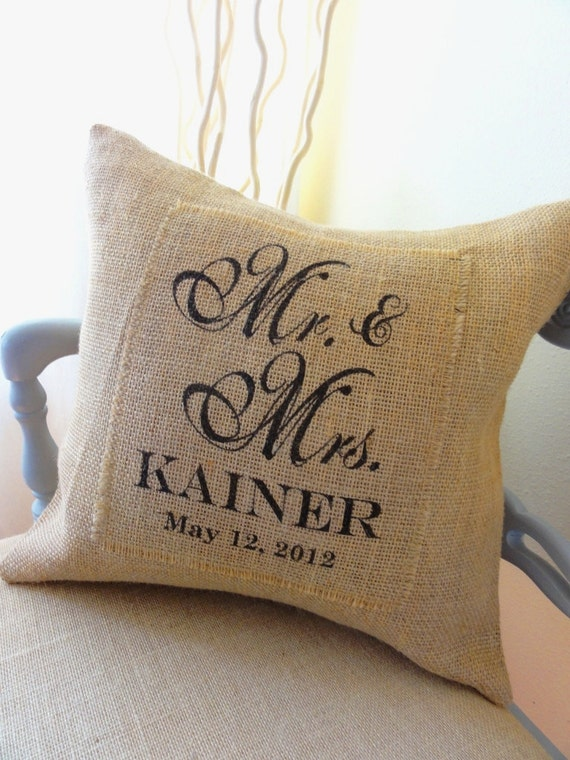 Mr and Mrs Burlap Pillow Cover- Perfect Wedding,  Anniversary or Shower Gift, Bride and Groom, Newlyweds