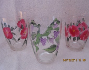 Stemless Glasses floral design set of three hand painted
